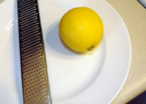 whole lemon and zester