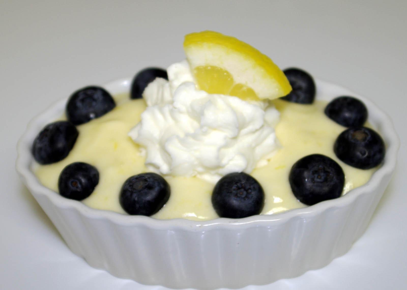 Lemon Mousse with Fresh Blueberries