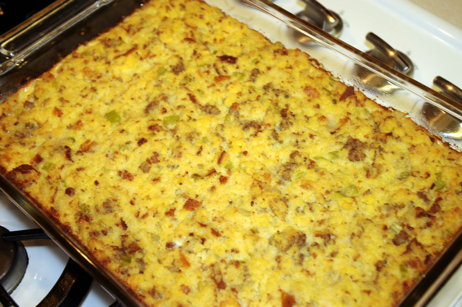 Cornbread stuffing or dressing and home-made cornbread