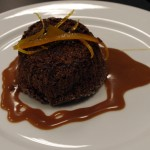 Spiced Chocolate Cake with Caramelized White Chocolate Sauce