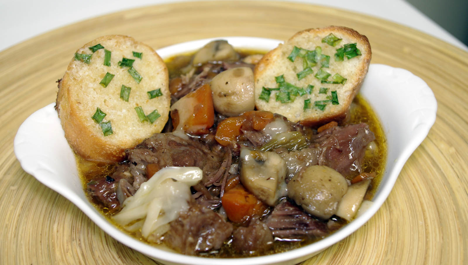 short rib bourguignon soup with horseradish-chive bread to sop up ...