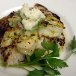 Grilled Red Snapper with Preserved Lemon Shrimp and Roasted Garlic Butter