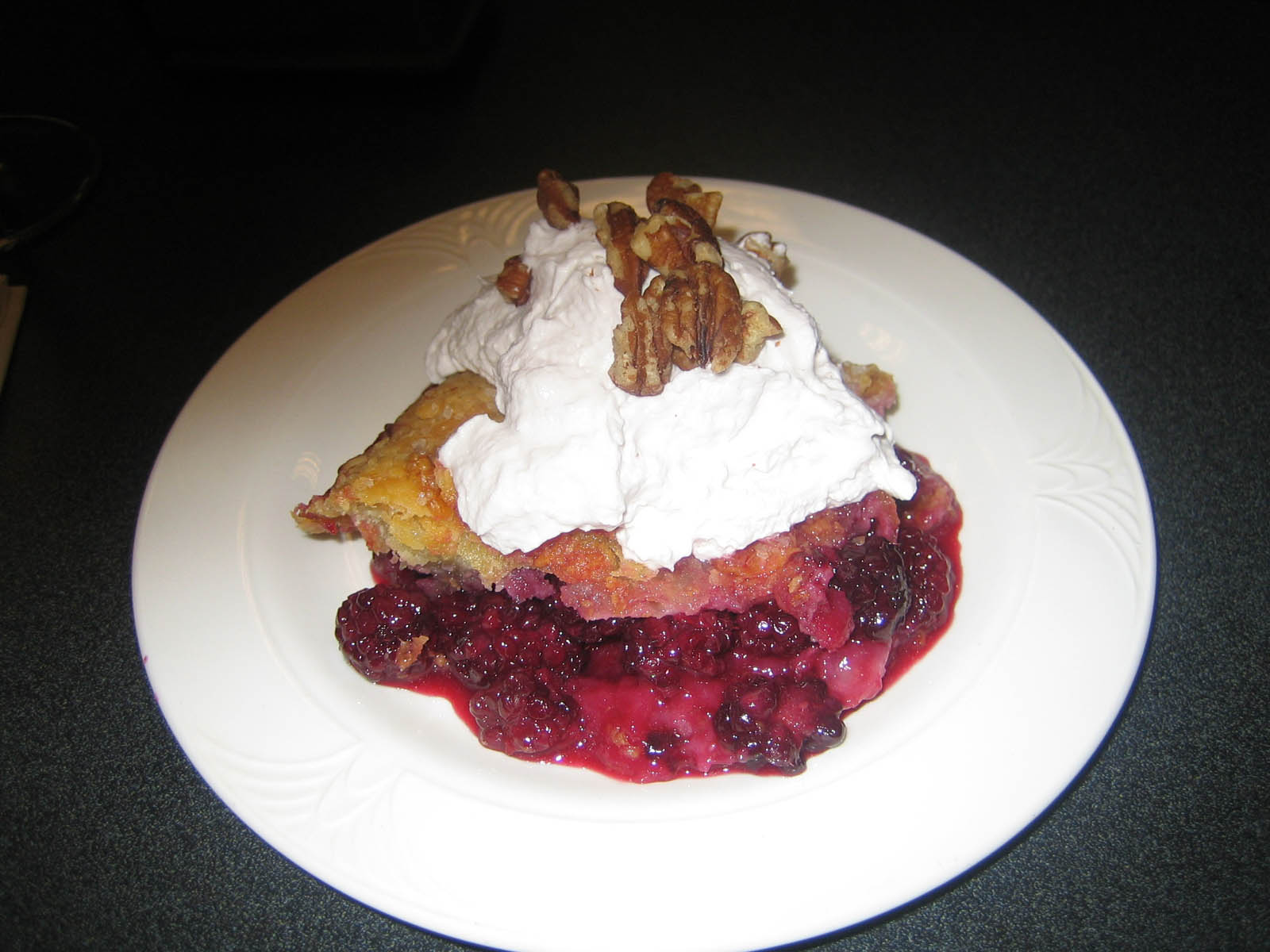 Berry Cobbler With Port Whipped Cream And Toasted Pecans