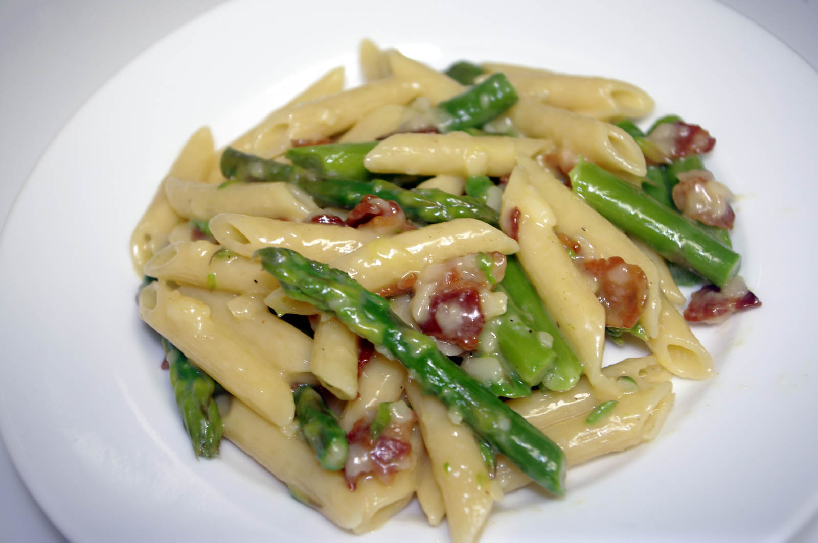 Penne with Asparagus Carbonara