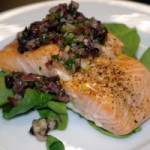Texas Cooking with a French Accent - Roasted Salmon with Kalamata Salsa