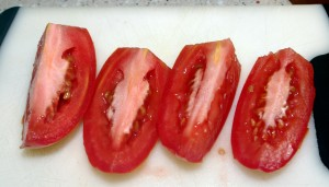 quartered tomatoes - oven dried tomatoes