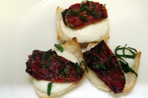 Fresh Mozzarella and Oven Dried Tomato Toasts