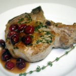 Thyme Pork Chops with Maple-Cranberry Sauce
