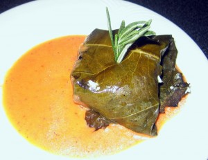 Grape Leaf Wrapped Goat Cheese With Roasted Tomato Vinaigrette