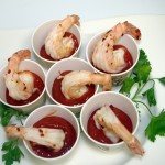 Super Bowl Party Appetizers - Drunken Shrimp with Sriracha Cocktail Sauce