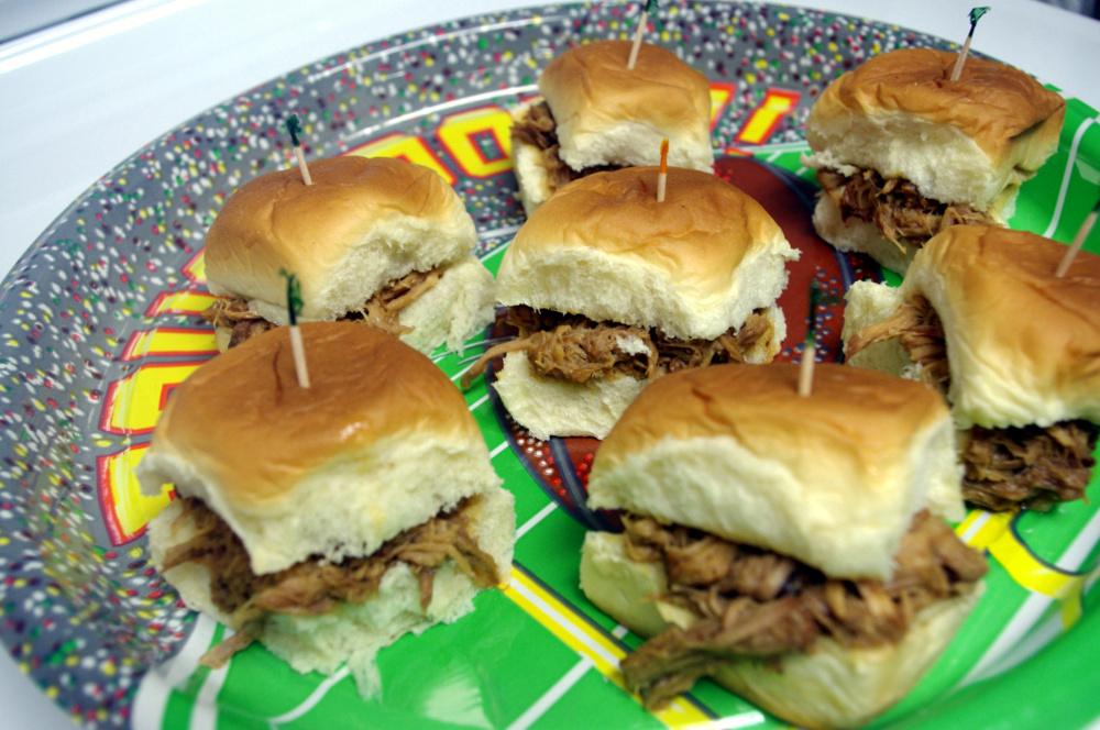 Game Day Pulled Pork Sliders on Honey Wheat Rolls