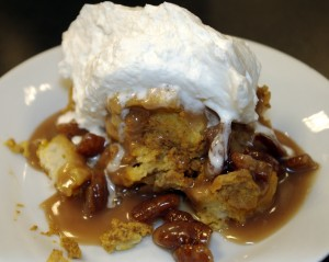 Pumpkin Pecan Bread Pudding with Maple Pecan Caramel Sauce and Bourbon Cream