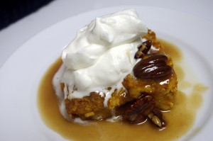 Pumpkin Bread Pudding with Maple Pecan Caramel Sauce and Bourbon Cream
